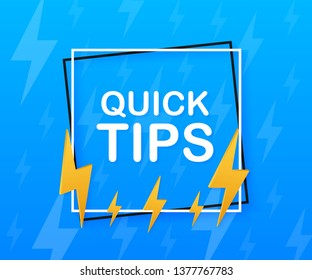 Quick tips, hint, helpful tricks, tooltip for website. Creative banner with useful information.  stock illustration.