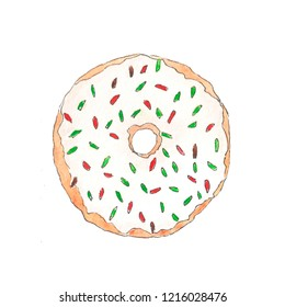 quick watercolor sketch with Christmas donuts and sweets. Happy New Year Posters. Cute Pig symbol of 2019. Greeting Card banner, Invitation, Poster Template, holiday illustration
