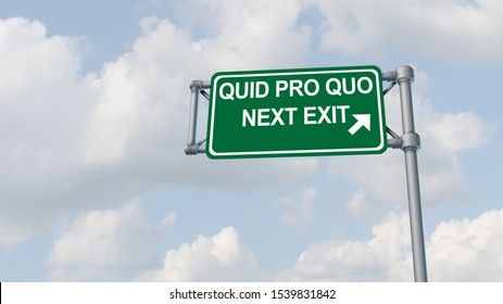 Quid pro quo concept as a business transaction or unethical political action in giving something for a favour as an exchange or transfer of services or goods traffic sign as a 3D illustration.