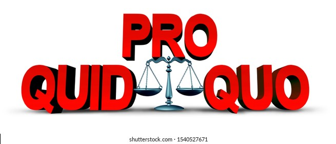 Quid pro quo law concept as a business transaction or unethical political action in giving something for a favour as an exchange or transfer of services or goods as a 3D illustration.