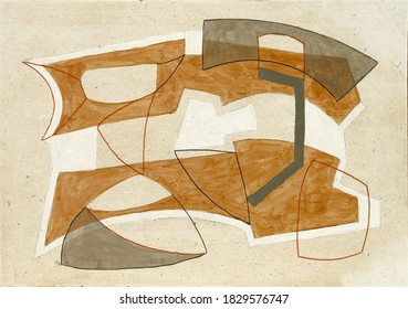A quiet modernist abstract painting, with a retro feel to it.
