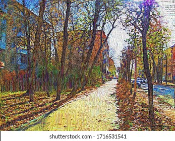 Quiet provincial autumn street in Smolensk with silhouettes of trees in the style of in the style of embroidery and tapestry and tapestry