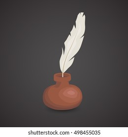 Quill icon isolated on neutral background.