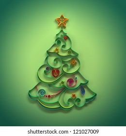 quilling paper decoration. Christmas tree
