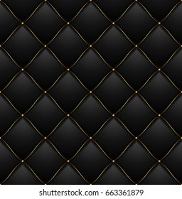 Quilted Pattern Background Vip Black with Gold Thread Luxury Expensive Concept Decorative Upholstery Soft Texture. illustration