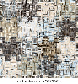 Quilted pattern with grunge striped and checkered square elements in blue,beige, grey colors