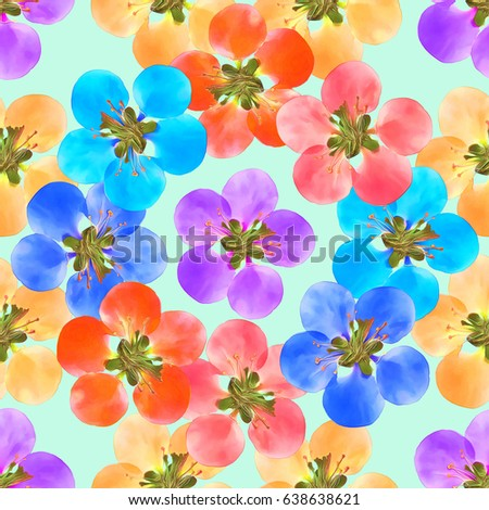 Quince, apple quince. Texture of flowers. Seamless pattern for continuous replicate. Floral