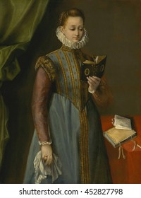 Quintilia Fischieri, by Federico Barocci, c. 1600, Italian Renaissance painting, oil on canvas. Mannerist portrait of a standing young women reading. Her costume is elegantly rich with a high ruff co