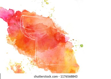 A quirky doodle of a glass of wine on a vibrant watercolour texture with copy space