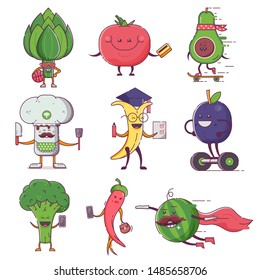Quirky fruit and vegetable characters for vegan social networks and healthy lifestyle advertising. Funny flat vegetables and fruits on city daily activities. On shopping, chatting, cook and studying.