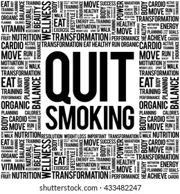 Quit Smoking word cloud background, health concept