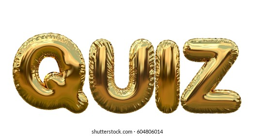 Quiz gold foil balloon word on a plain white background. 3D rendering