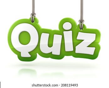 Quiz green word text on white background with clipping path
