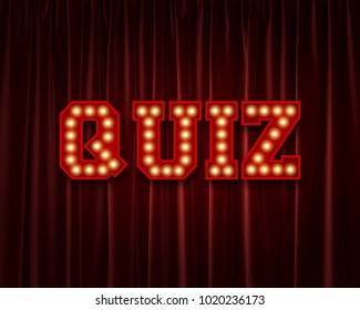 Quiz lightbulb lettering word against a red theatre curtain. 3D Rendering