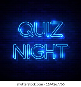 Quiz Night neon sign on the brick wall. Illustration
