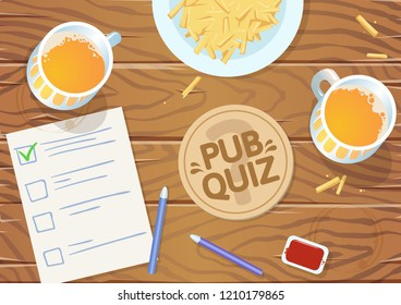 Quiz night in the pub. Wooden pub table with quiz list, fries and beer. illustration. Horizontal. Raster version.