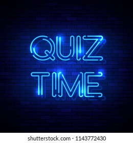 Quiz Time neon sign on the brick wall. Illustration