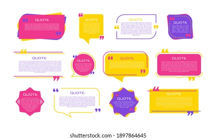 Quote frames blank templates set on white background. Remark. Bubble  comment, message borders, boxes, banners. Speech  balloon with quotation marks, think, speak, talk, commas,
