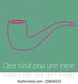 Quote in French after Rene Magritte, meaning of text- This is not a pipe