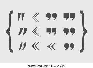 Quote Marks Set, Gray Abstract Icons, Different Shapes.