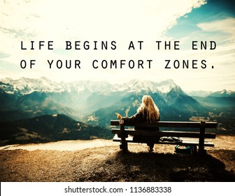 quotes. 'life begins at the end of your comfort zones' motivational and inspirational quote on girl sitting on a bench, on the hill.  for success, life, uplifting, education, empowering, health.