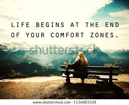 Quotes Life Begins End Your Comfort Stockillustratie 1136883338
