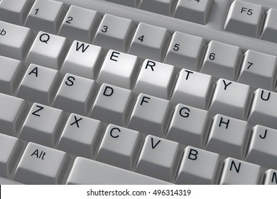 Qwerty keyboard keys. 3d render