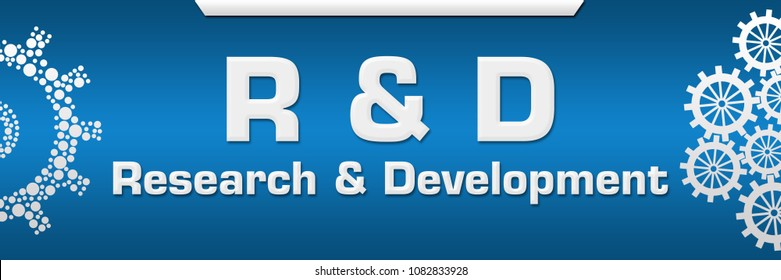 R And D - Research And Development text written over blue background.