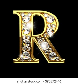 r isolated golden letters with diamonds on black