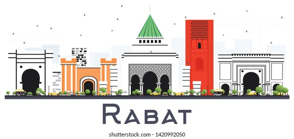 Rabat Morocco City Skyline with Gray Buildings Isolated on White. Business Travel and Tourism Concept with Modern Architecture. Rabat Cityscape with Landmarks.