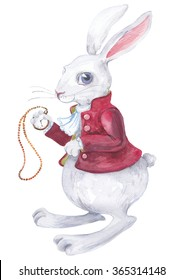 Rabbit from Alice in Wonderland watercolor drawing with clock. Beautiful drawing on write  texture paper.