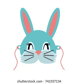 Rabbit animal carnival  illustration in flat style. Grey small bunny hare. Funny childish masquerade mask isolated on white. New Year masque for festivals, holiday dress code for kids