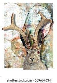 A Rabbit with Antlers in Front of an Abstract Background in Muted Colors