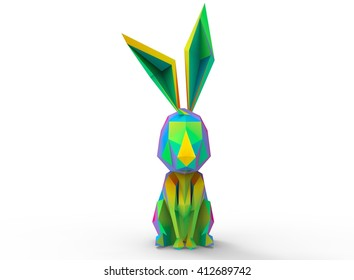 rabbit character. cartoon low poly 3D illustration of animal. rainbow colors triangles and polygons. on white background isolated with shadow.