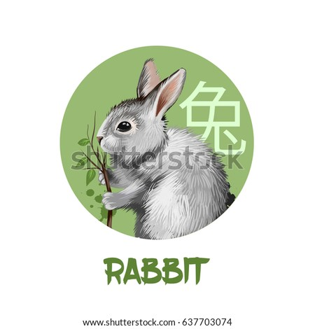Rabbit chinese horoscope character isolated on white background. Symbol Of New Year 2023. Pet bunny hare animal in circle with hieroglyphic sign, digital art illustration, greeting card design