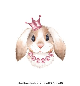 Rabbit and crown. Watercolor illustration. Isolated on white background