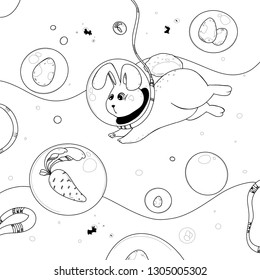 Rabbit with Easter eggs and carrots in bubbles