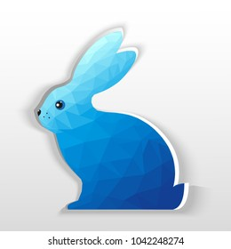 Rabbit, Easter rabbit, low-poly style, and cut paper. Design for postcard, poster.