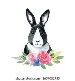 Rabbit with flowers- watercolor illustration isolated on white background. Cute bunny character, front view. Monochrome childish portrait. Print for t-shirts, apparel, posters, textile.