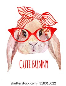 Rabbit head in glasses. Watercolor bunny isolated on white background. Hand drawn portrait of hare hipster
