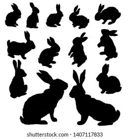 Rabbit illustration, Isolated On White Background, bunny silhouette.