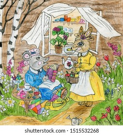 Rabbit and mouse are drinking tea in the garden. Drawing in ink and colored pencils. Cute illustration for the decor and design of posters, postcards, prints, stickers, invitations, textiles.