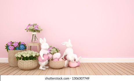 Rabbit puppets hold eggs and sit on eggs in a pink room decorated with colorful flowers. 3D illustration for Easter day artwork.