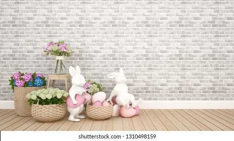 Rabbit puppets hold eggs and sit on eggs in the room and brick wall decorate with colorful flowers. 3D illustration for Easter day artwork.