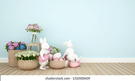 Rabbit puppets hold eggs and sit on eggs in a light blue room decorated with colorful flowers. 3D illustration for Easter day artwork.