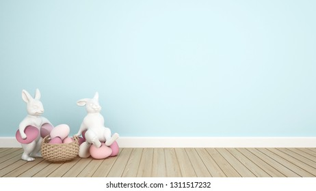 Rabbit puppets hold eggs and sit on eggs in a light blue room. 3D illustration for Easter day artwork.