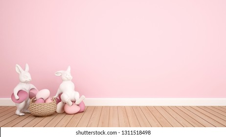 Rabbit puppets hold eggs and sit on eggs in a pink room. 3D illustration for Easter day artwork.