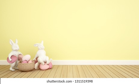 Rabbit puppets hold eggs and sit on eggs in a yellow room. 3D illustration for Easter day artwork.