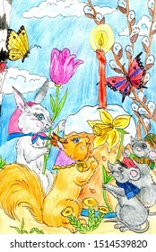 Rabbit, squirrel and mice celebrate Easter. Drawing in ink and colored pencils. Cute illustration for the decor and design of posters, postcards, prints, stickers, invitations, textiles.