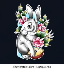 rabbit tattoo sketch animal new school